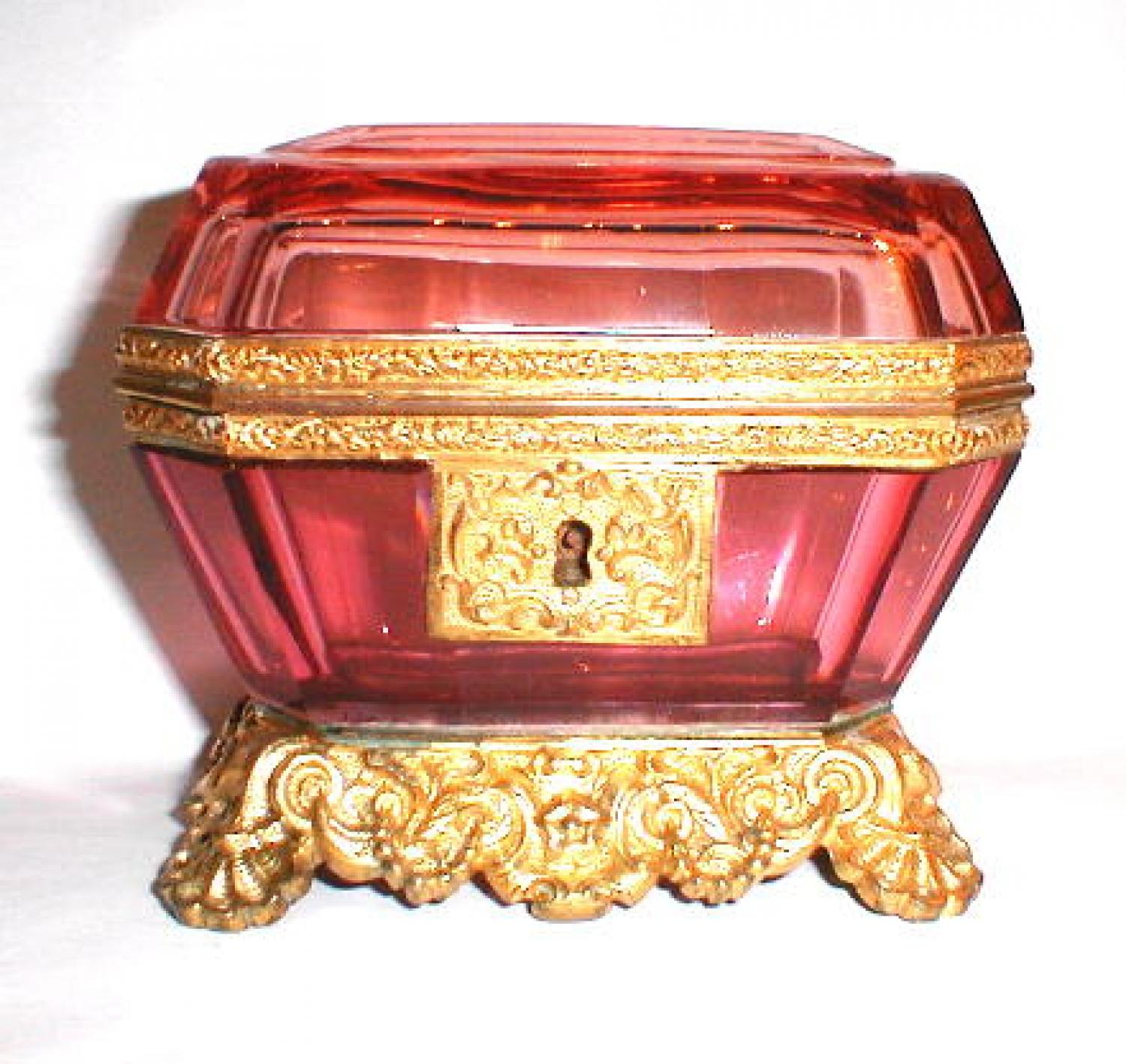 Antique French Cranberry Glass Casket