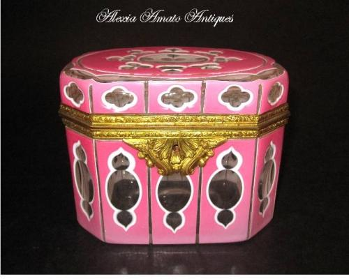 Rare Antique Pink Overlay Glass Casket