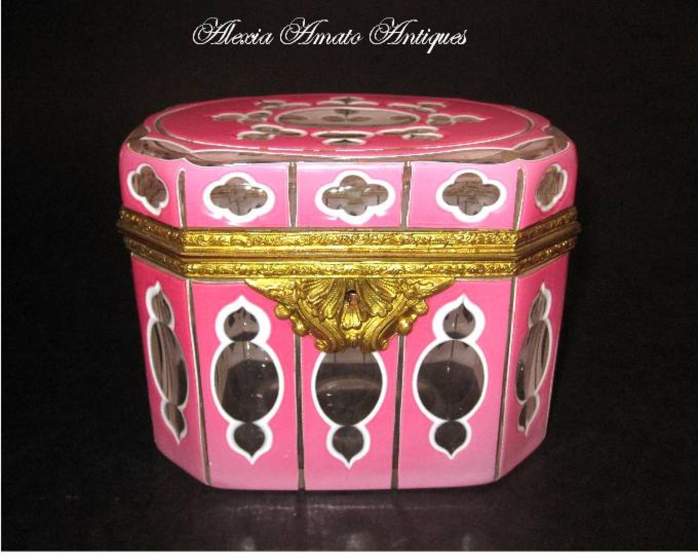 Rare Antique Pink Overlay Glass Casket