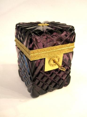 Rare French Amethyst Cut Crystal Casket