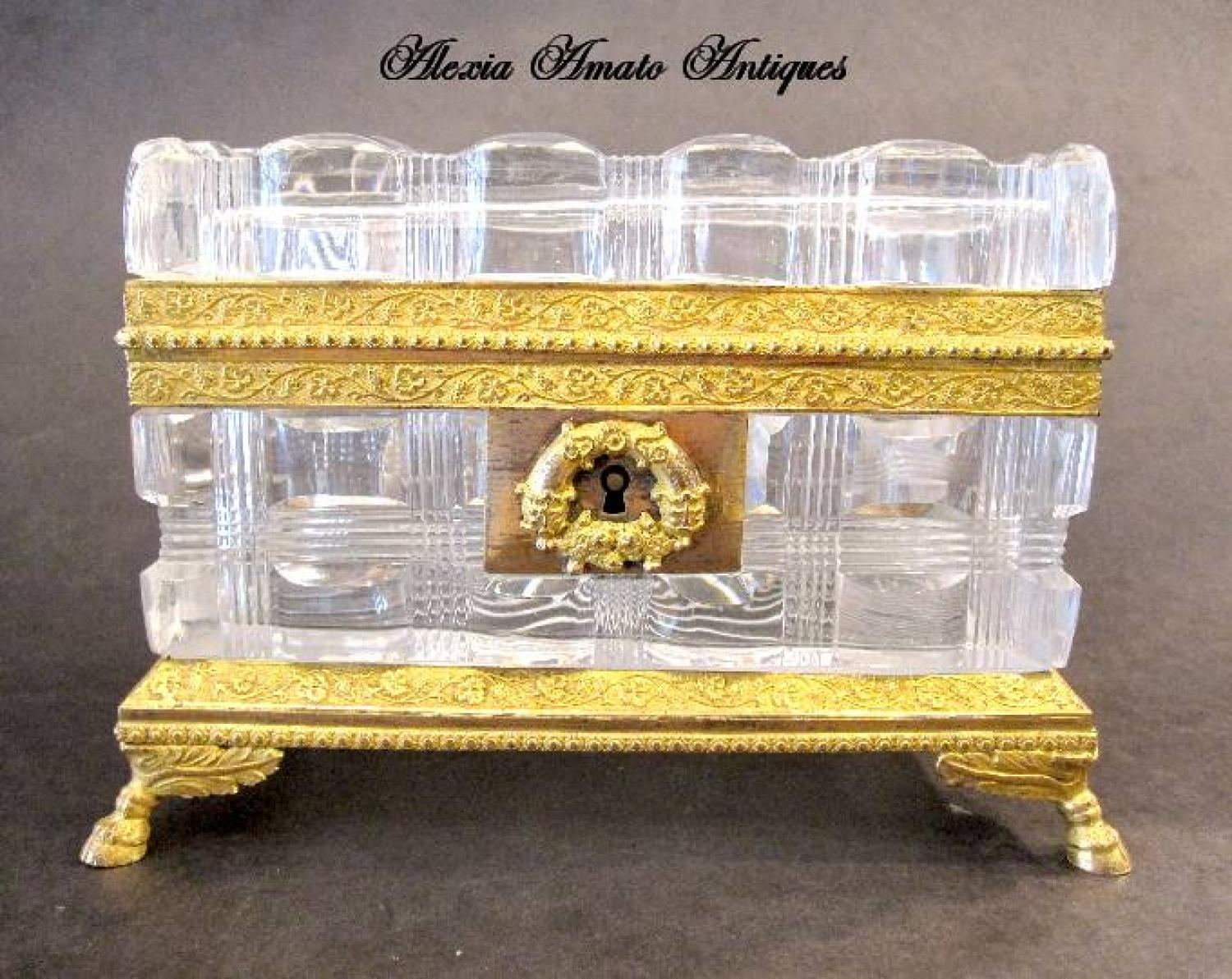 Fine Antique French Cut Crystal Casket