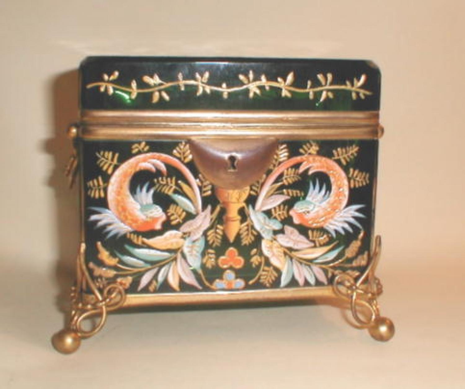 Antique Moser Glass Casket