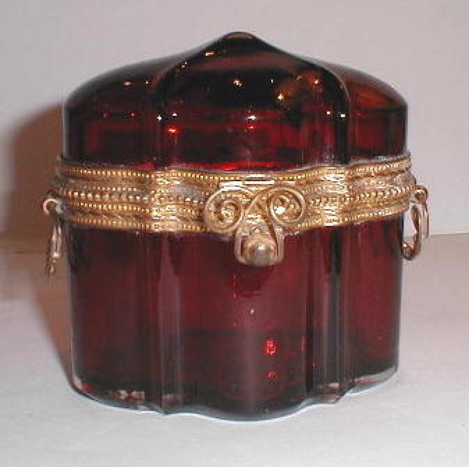 Antique French Ruby Red Glass Casket