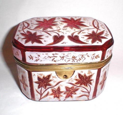 Antique Bohemian Pink Overlay Glass Casket