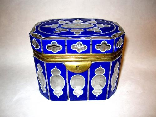 Bohemian 19th C Blue Overlay Glass Box