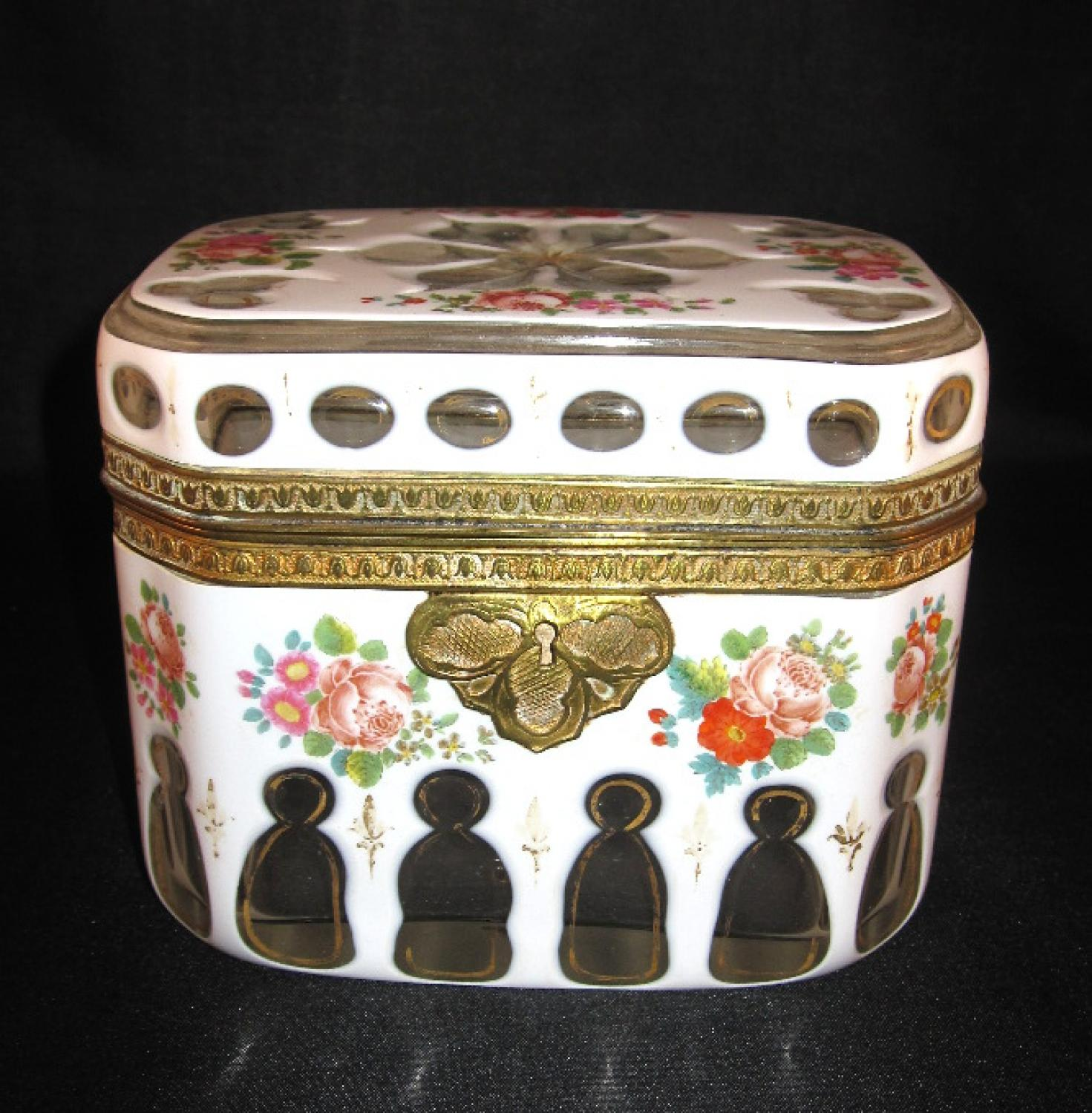 Antique Bohemian White Overlay Glass Casket