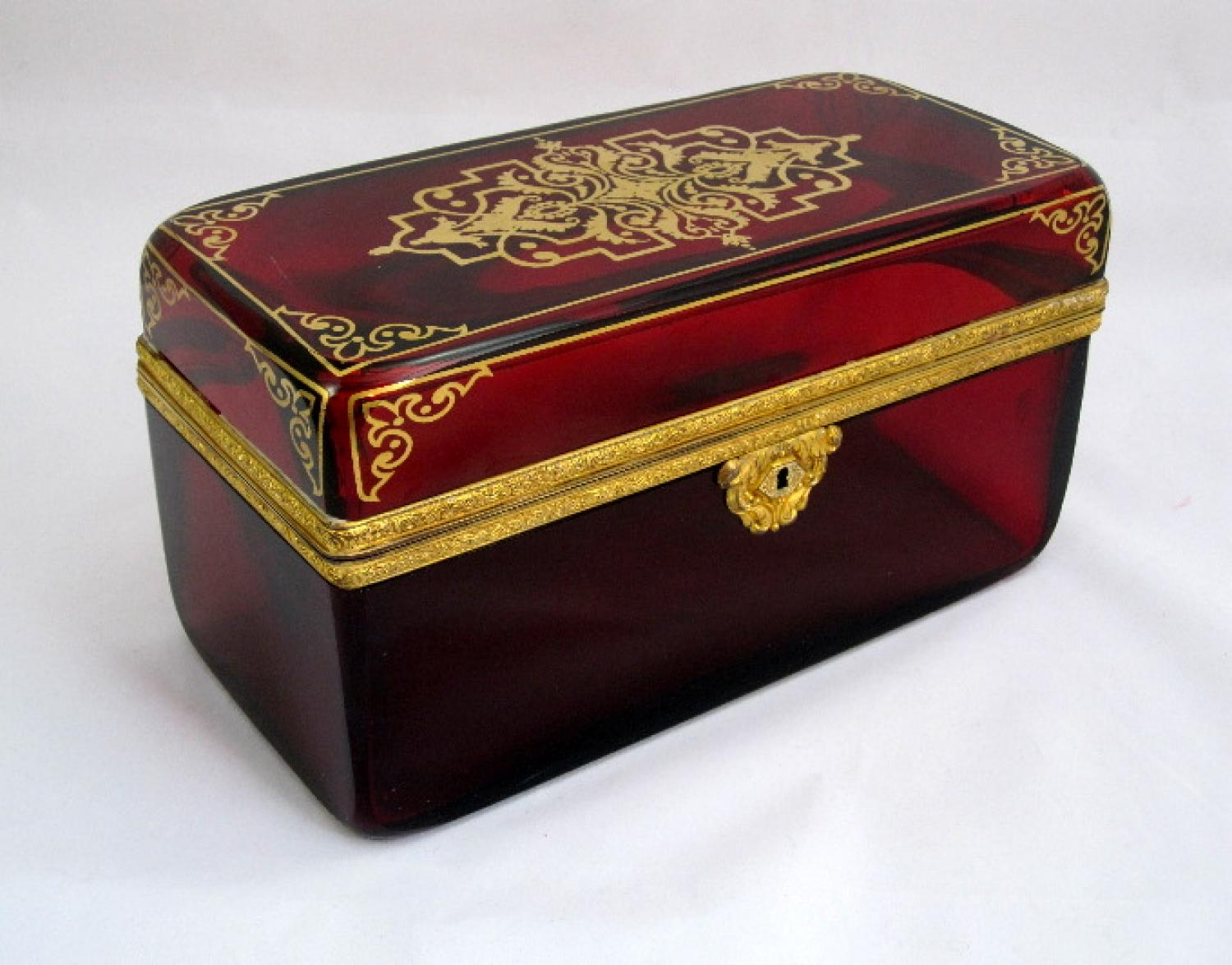 Large Ruby Red Crystal Casket