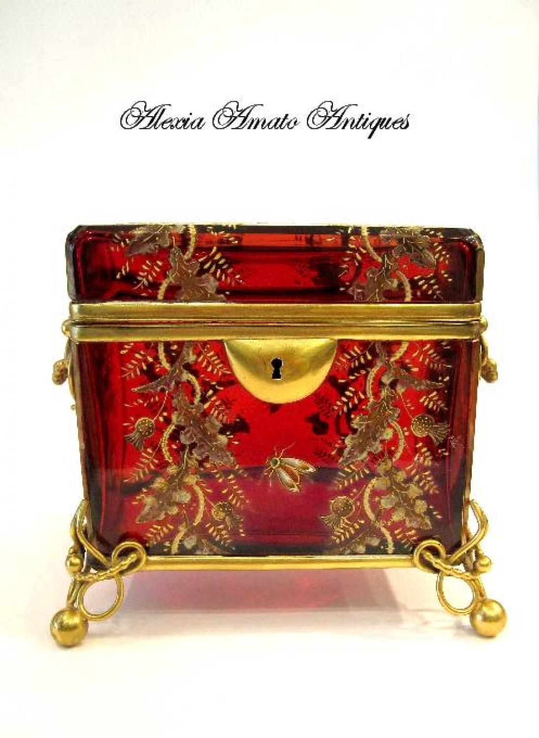 Antique Moser Red Glass Casket