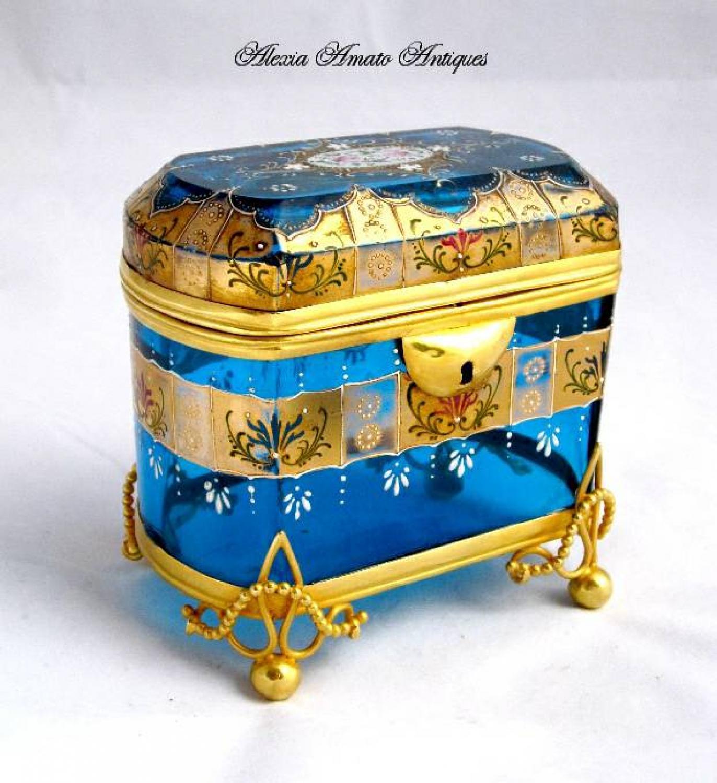 Antique Turquoise Moser Glass Casket