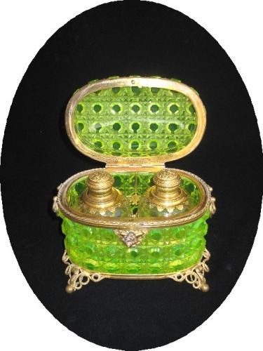 Rare Antique Uranium Cut Glass Scent Casket