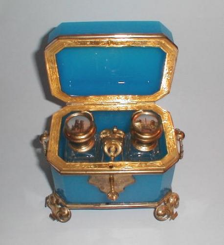 Antique French Oplaline Glass Scent Casket