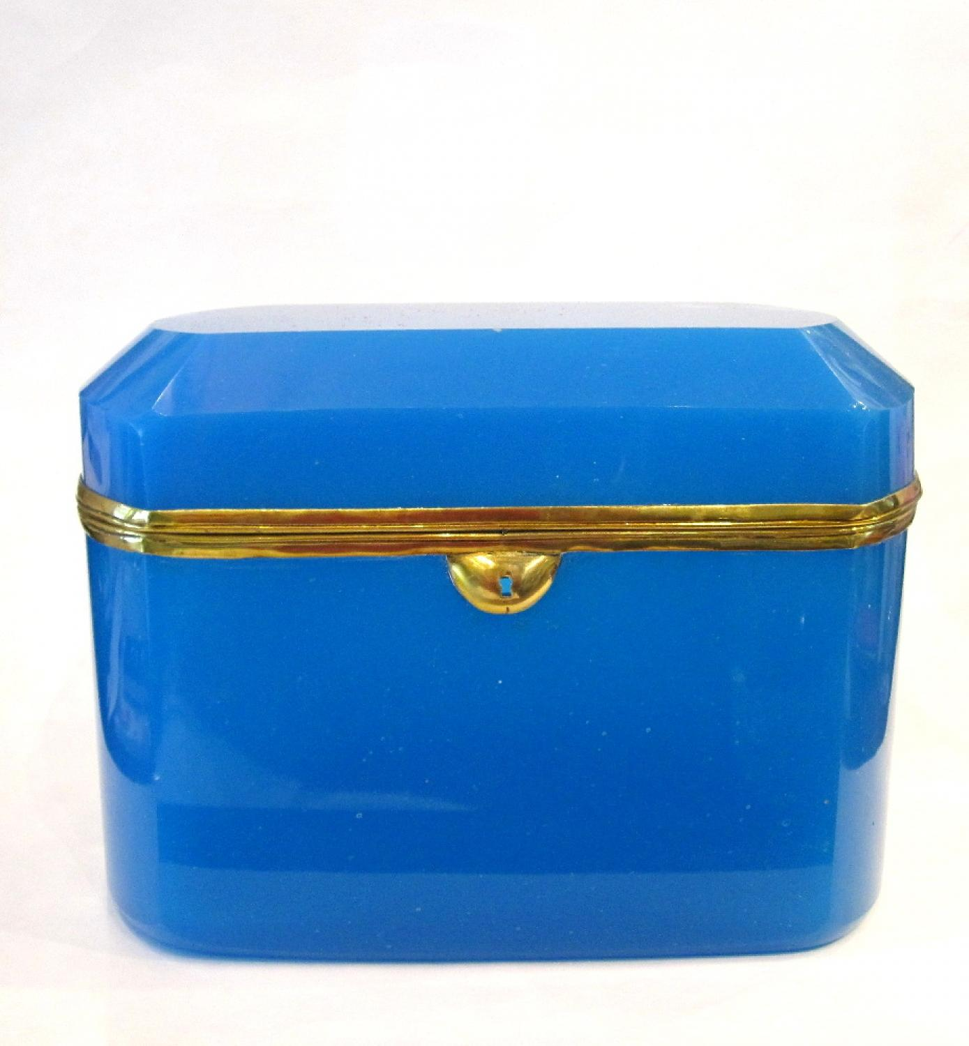 Very Large French Blue Opaline Glass Casket