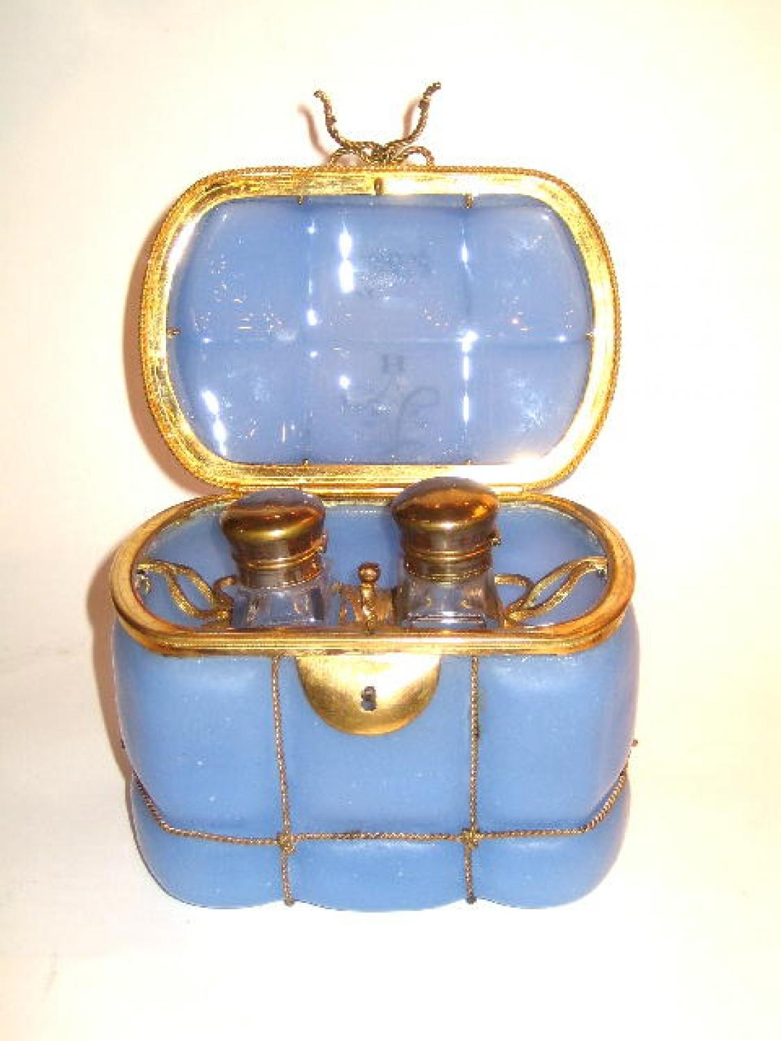 French Lavender Opaline Glass Perfume Casket