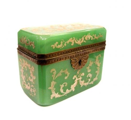 Antique Green Opaline Glass Enamelled Casket