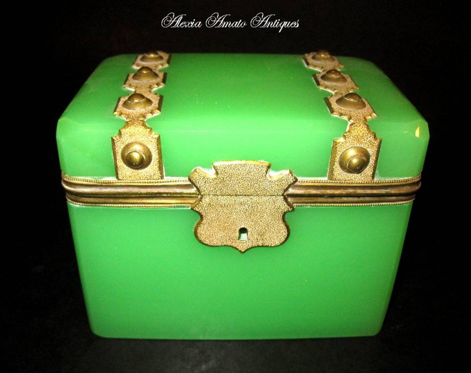 French 19th C Green Opaline Glass Casket