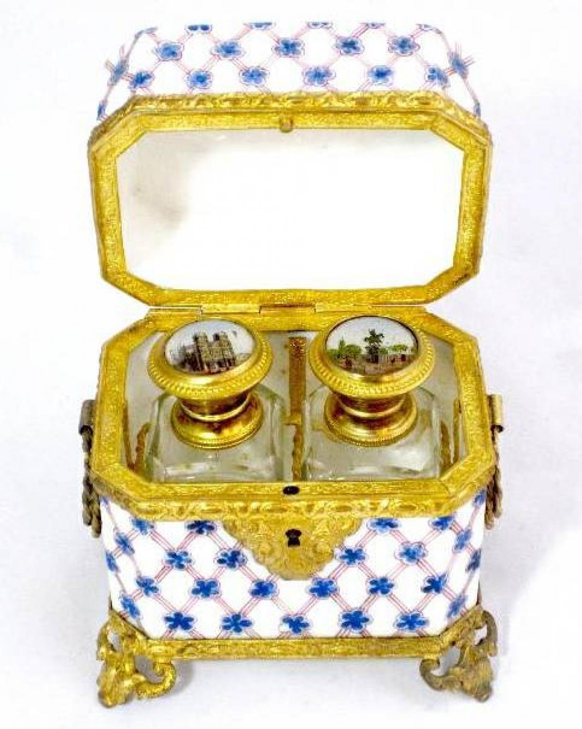 Unusual Antique French Glass Scent Casket