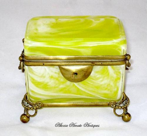 Antique French Yellow Opaline Glass Casket