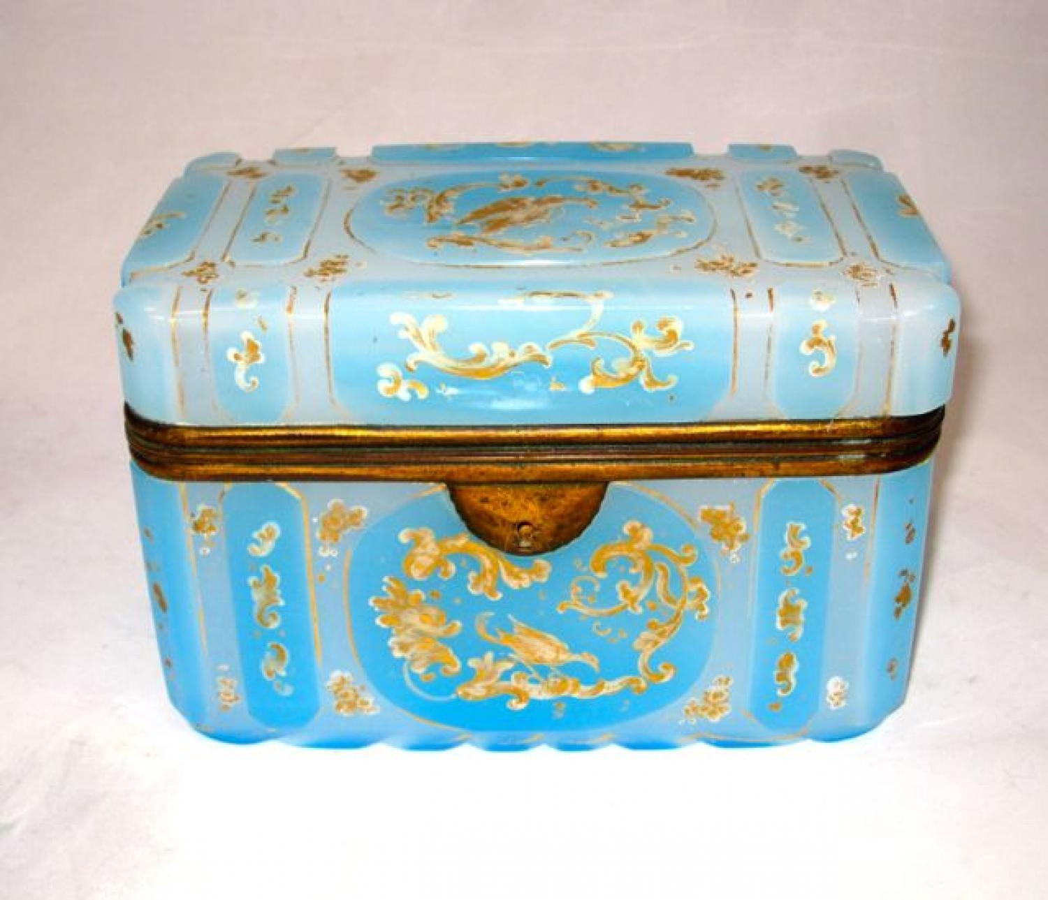 Large 'Barfatan' Blue Opaline Glass Casket