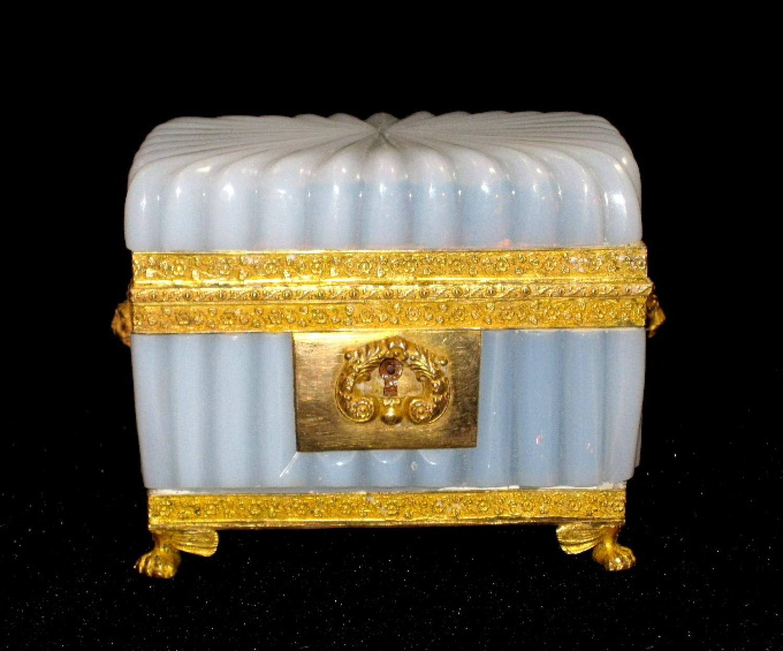 French Opaline Bulle de Savon Glass Casket