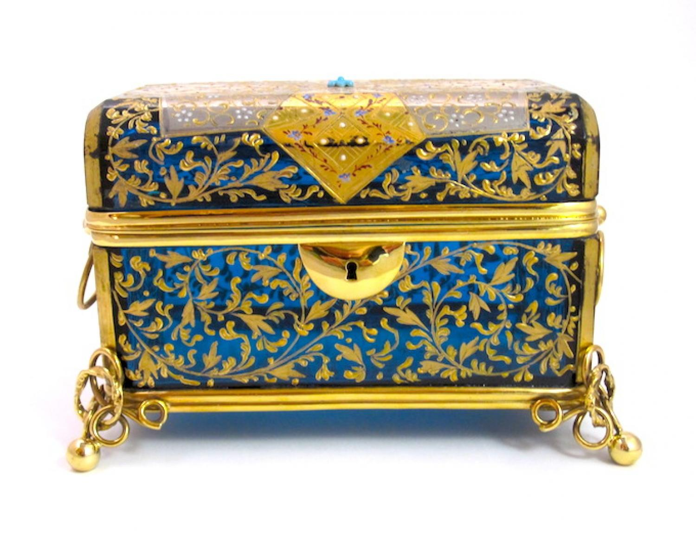 Large Antique Bohemian Turquoise Glass Casket