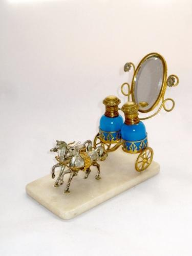 Antique French Opaline Glass Carriage