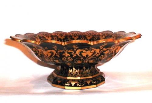 Bohemian 19th Century Ruby Red & Gold Dish