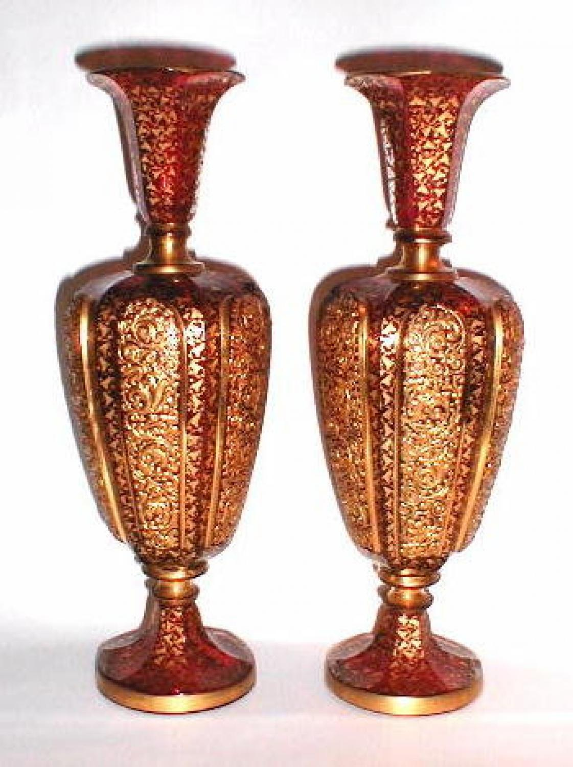 Pair Bohemian 19th Century Enamelled Vases