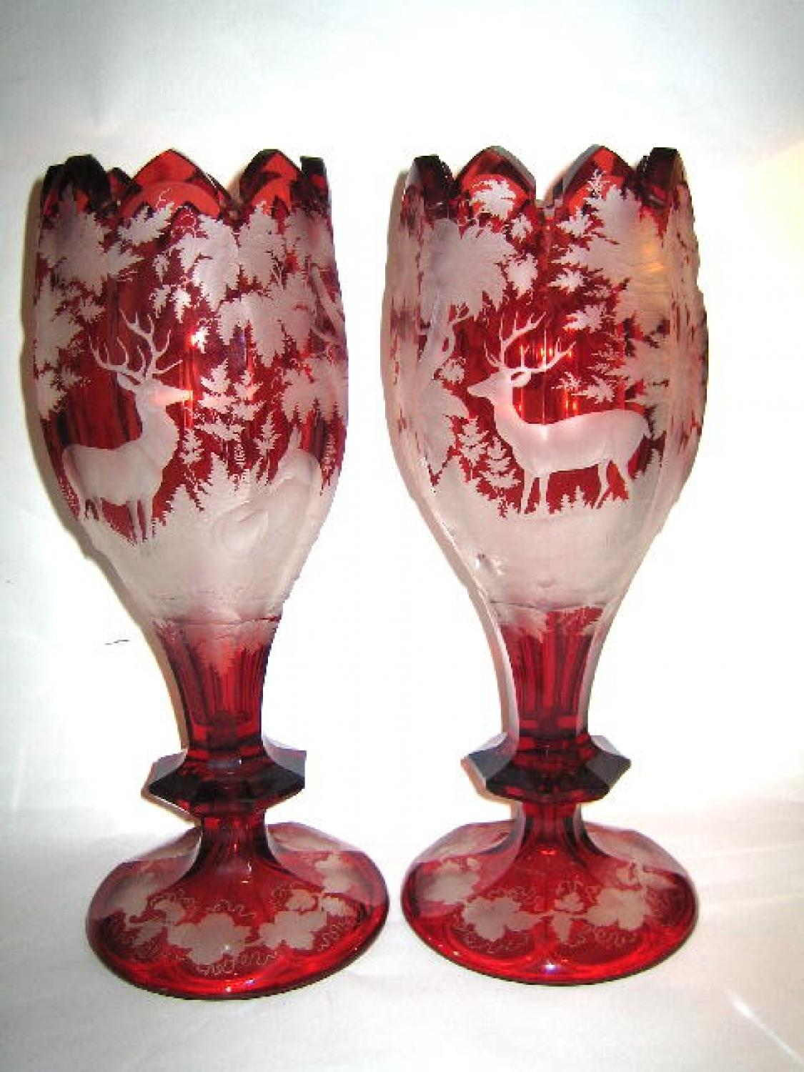 A Pair of Bohmian Ruby Red Deer Vases