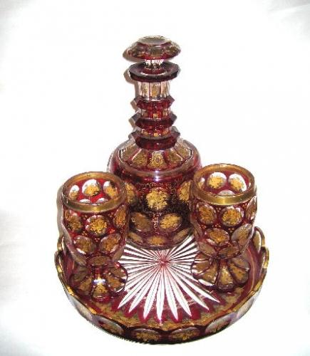 Bohemian 19th Century Red & Gold Decanter Set