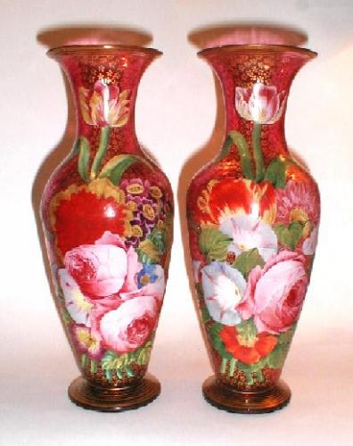 Unusual Pair of Bohemian 19th Century Vases