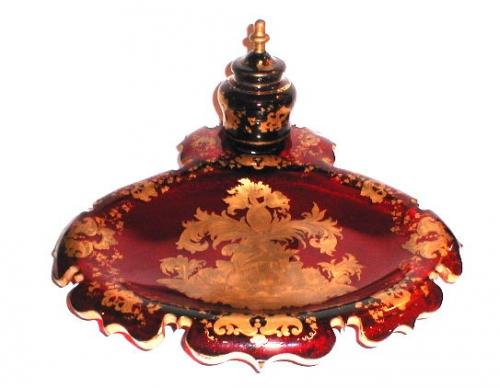 An Unusual Bohemian 19th Century Red Inkstand
