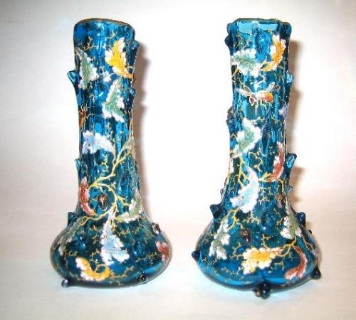 A Pair of Moser Turquoise Glass Vases