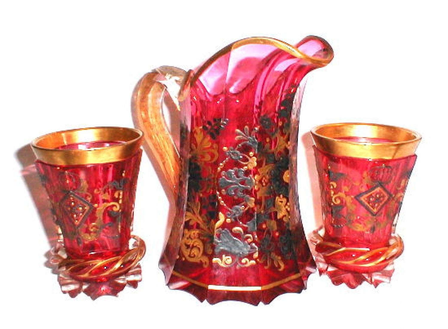 Bohemian Cranberry Glass Drinking Set