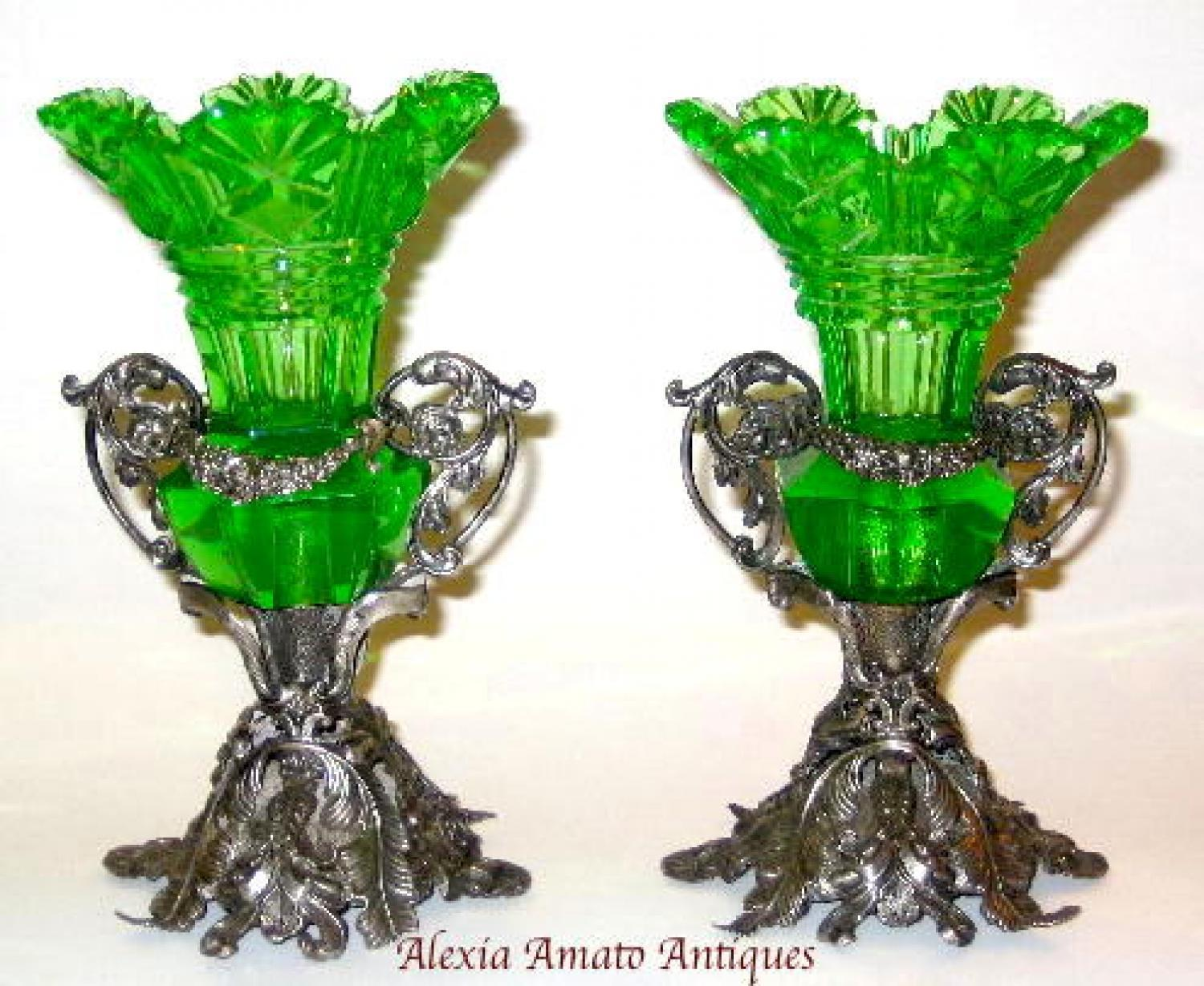A Pair of Green Uranium Glass Vases