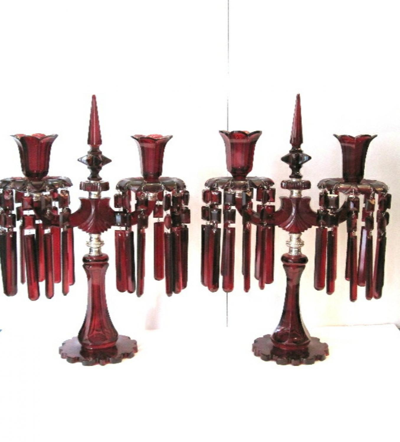 Pair of Bohemian Ruby Red Glass Candelabra