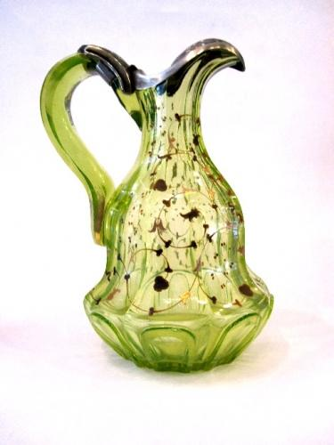 A Bohemian 19th Century Uranium Glass Jug