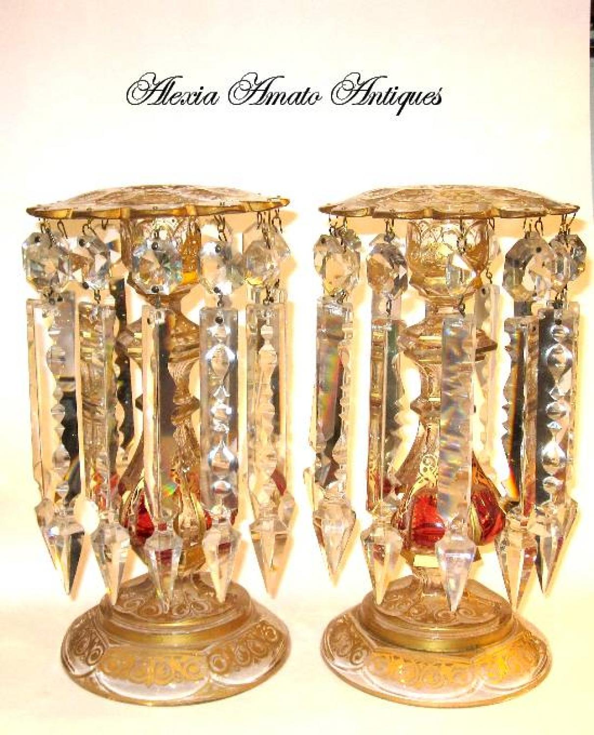 A Stunning Pair of Bohemian Glass Lustres