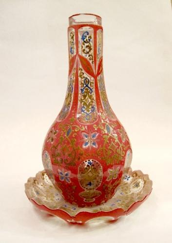 Unusual Bohemian Pink Enamelled Decanter