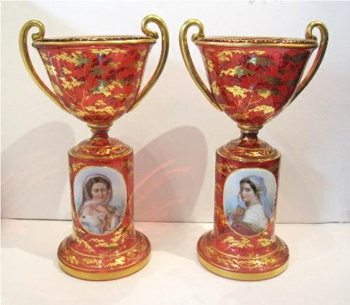Pair of Stunning Bohemian Portrait Vases