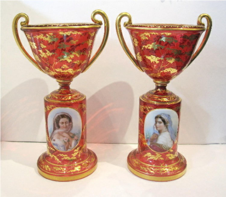 Pair of Stunning Bohemian Portrait Vases
