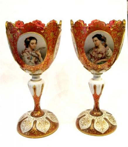 Pair of Bohemian 19th C Portrait Goblets