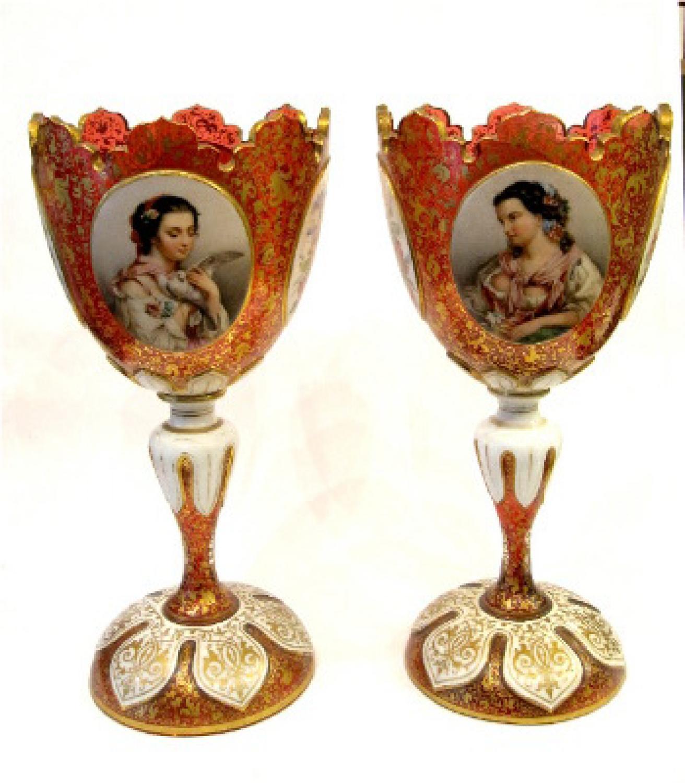Pair of Bohemian 19th C Portrait Goblets