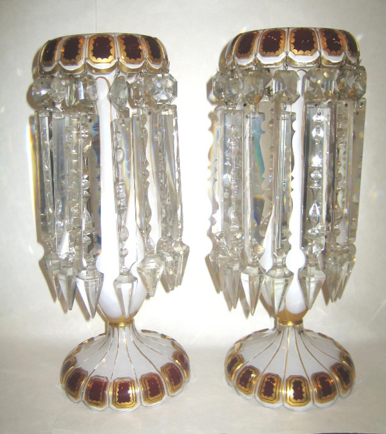 A Stunning Pair of Bohemian Overlay Lustres