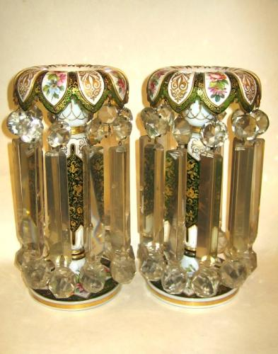 Pair of Antique Bohemian Glass Lustres