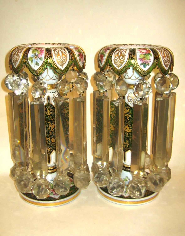 Pair of Antique Bohemian Glass Lustres