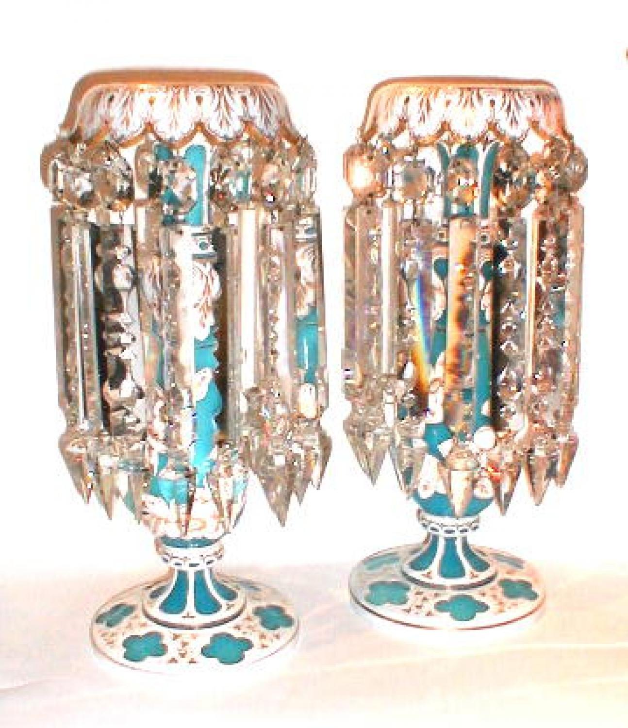 A Tall Pair Antique Bohemian Overlay Lustres
