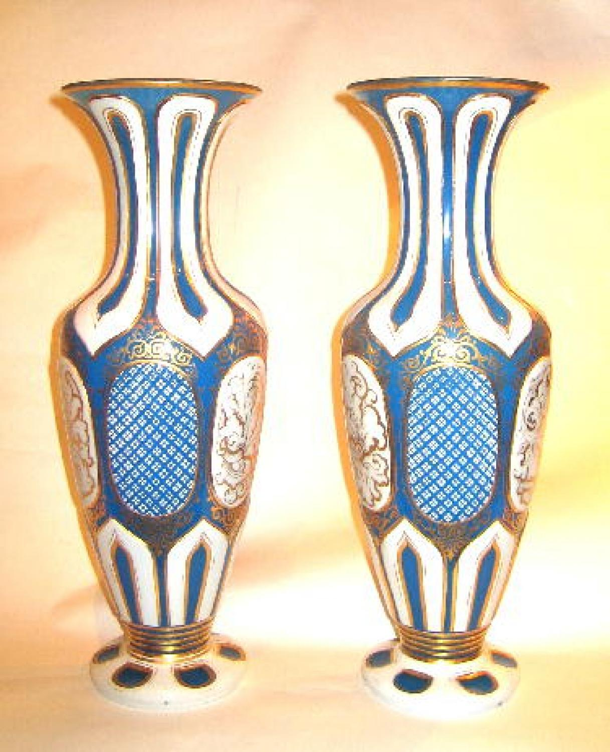 Pair Antique Bohemian Glass Vases