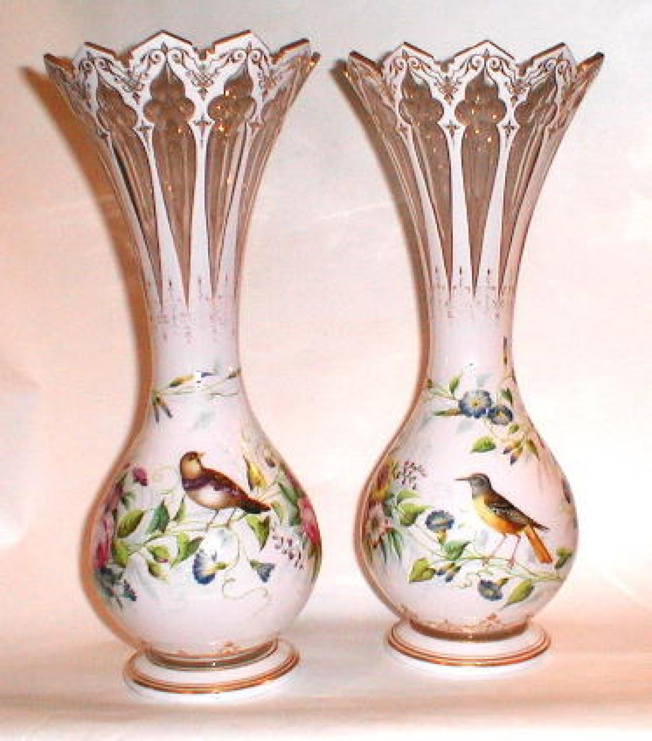 Antique Pair Overlay Glass Vases