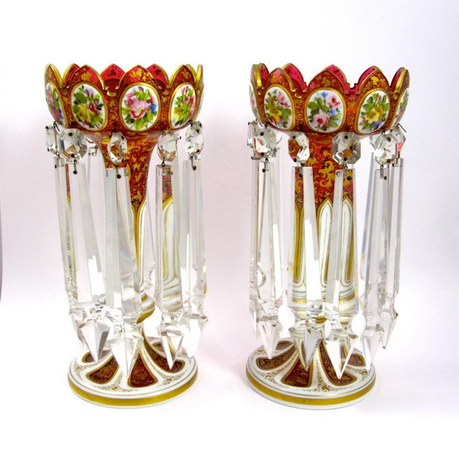 Antique Bohemian Red Overlay Glass Lustres