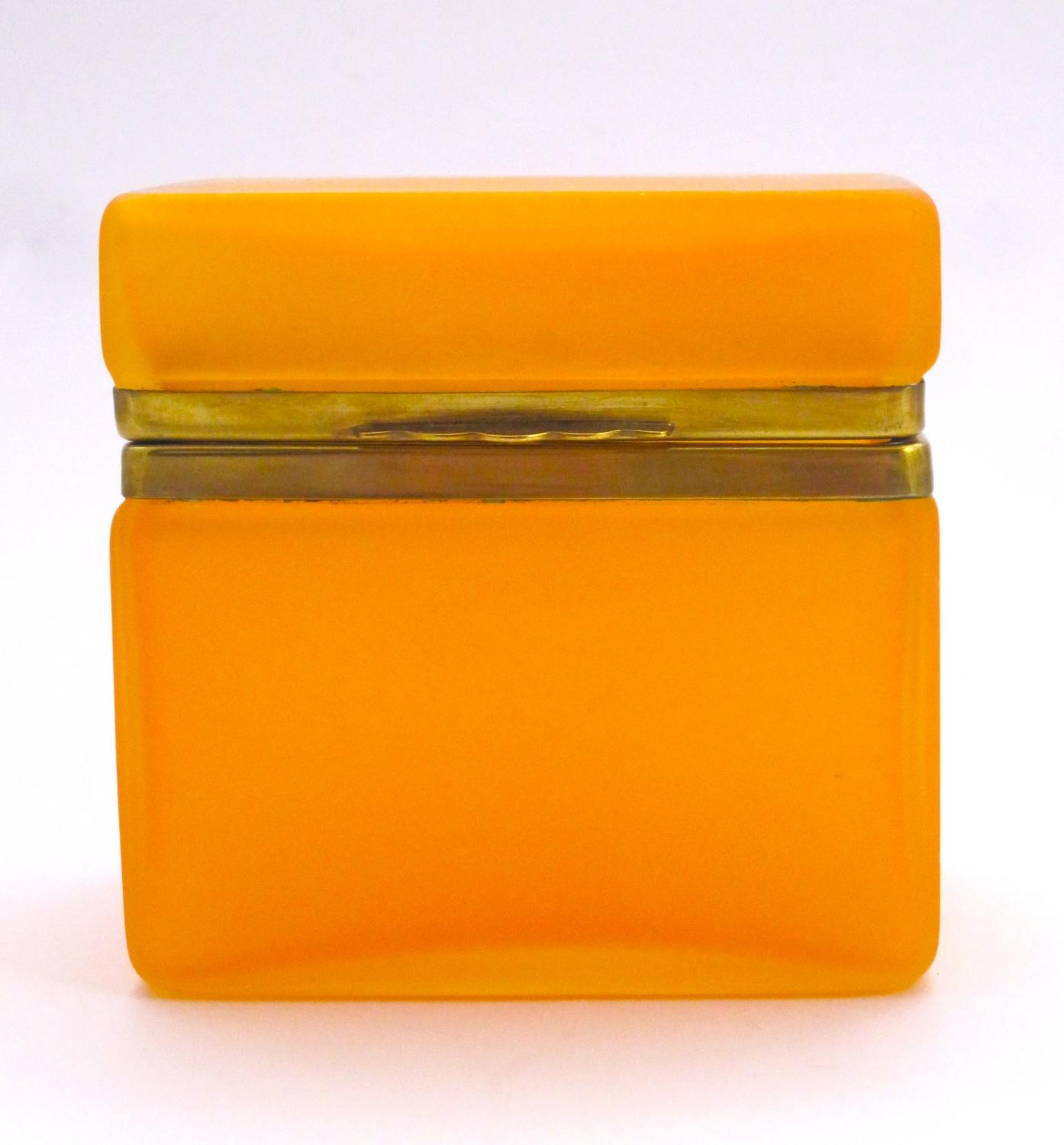 Antique Tangerine Glass Casket Box